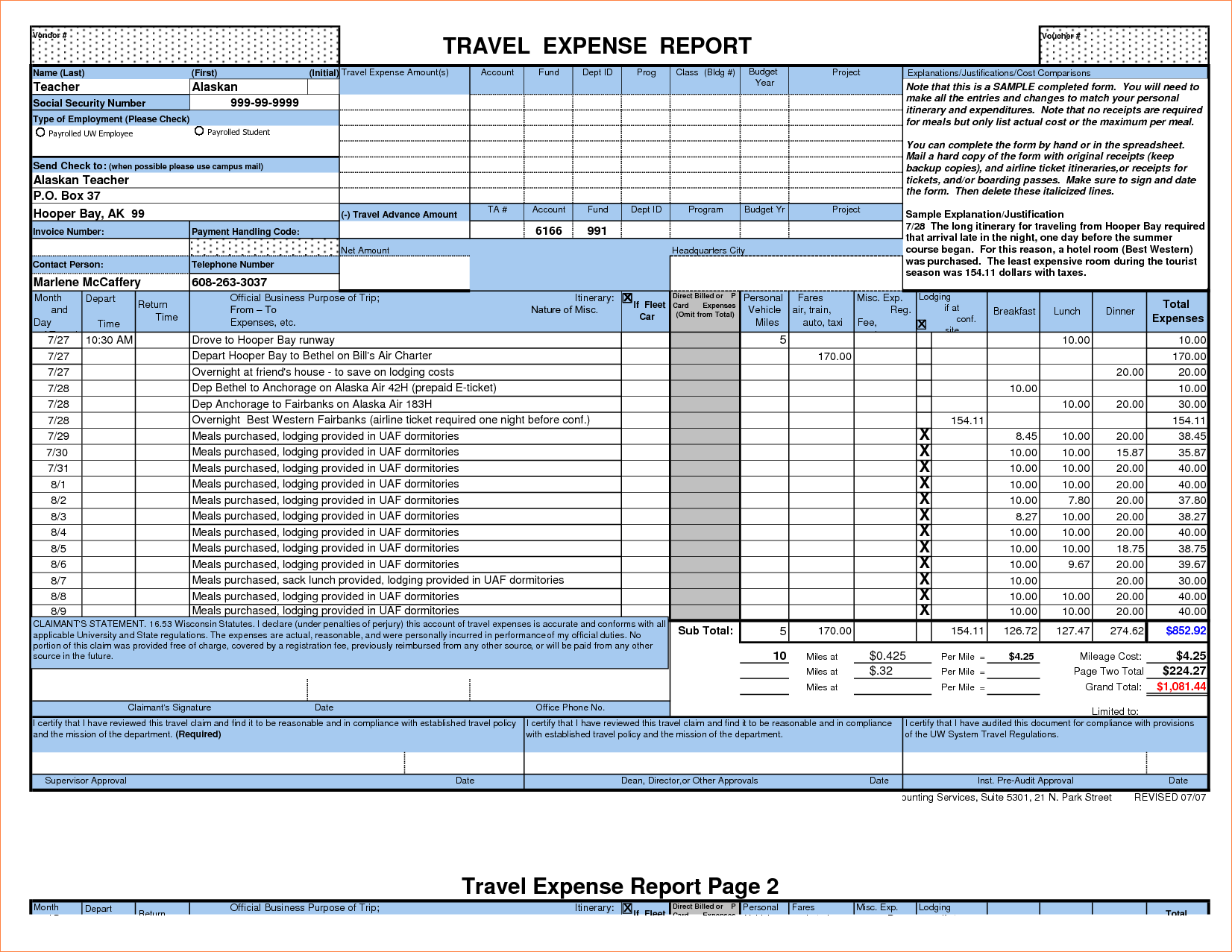 Sample Spreadsheet for Business Expenses and 7 Travel Expense Report Template Procedure Template Sample