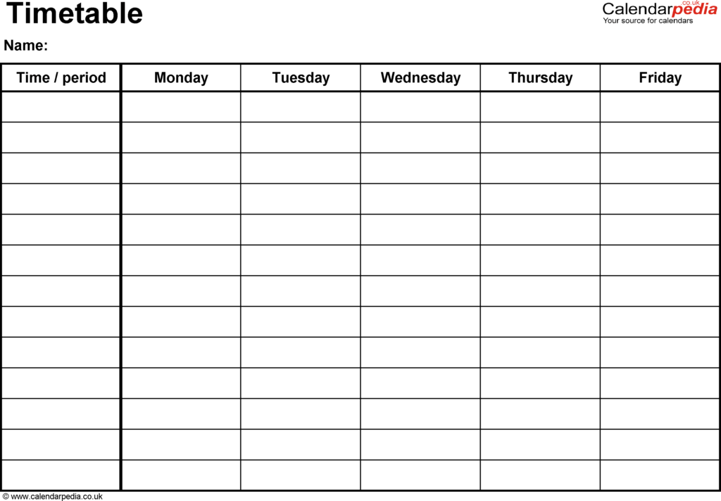 Sample Time Sheets to Print and Timetables as Free Printable Templates for Microsoft Excel