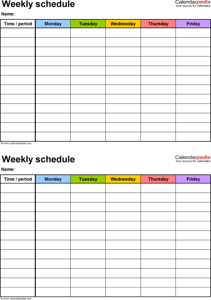 Scheduling Templates Excel and Free Weekly Schedule Templates for Excel 18 Templates