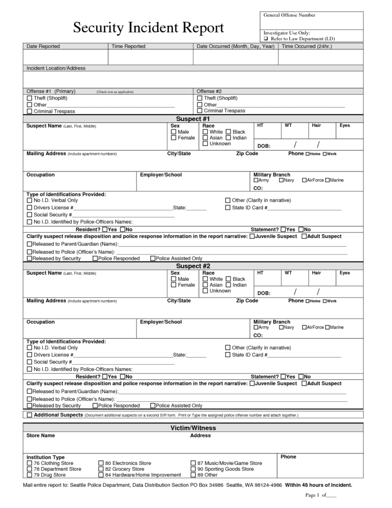 Security Incident Report form Sample and Best Photos Of Security Guard Incident Report form Security