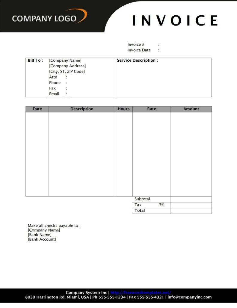 Service Bill Template and General Service Invoice Freewordtemplates