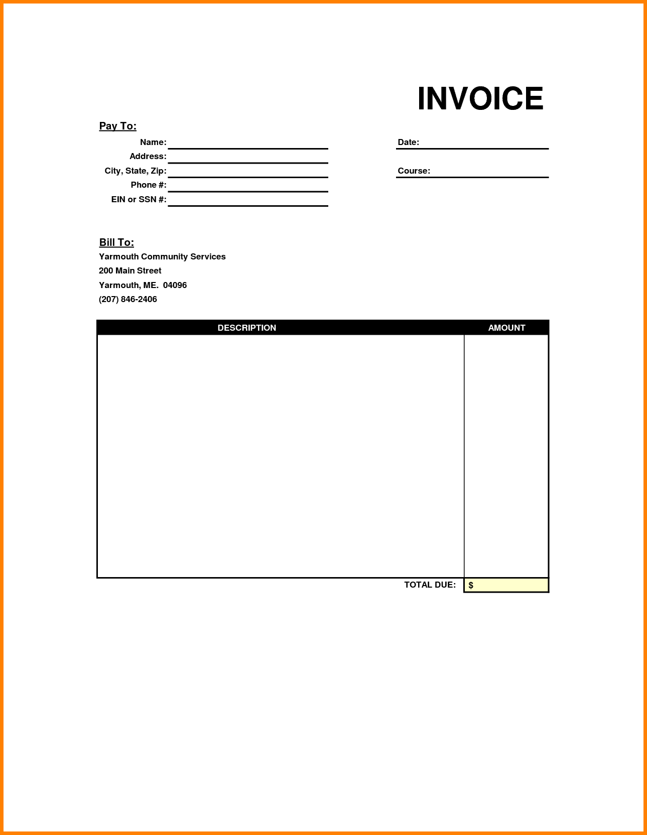 Service Bill Template and Invoice Template Pdf Printable Invoice Template