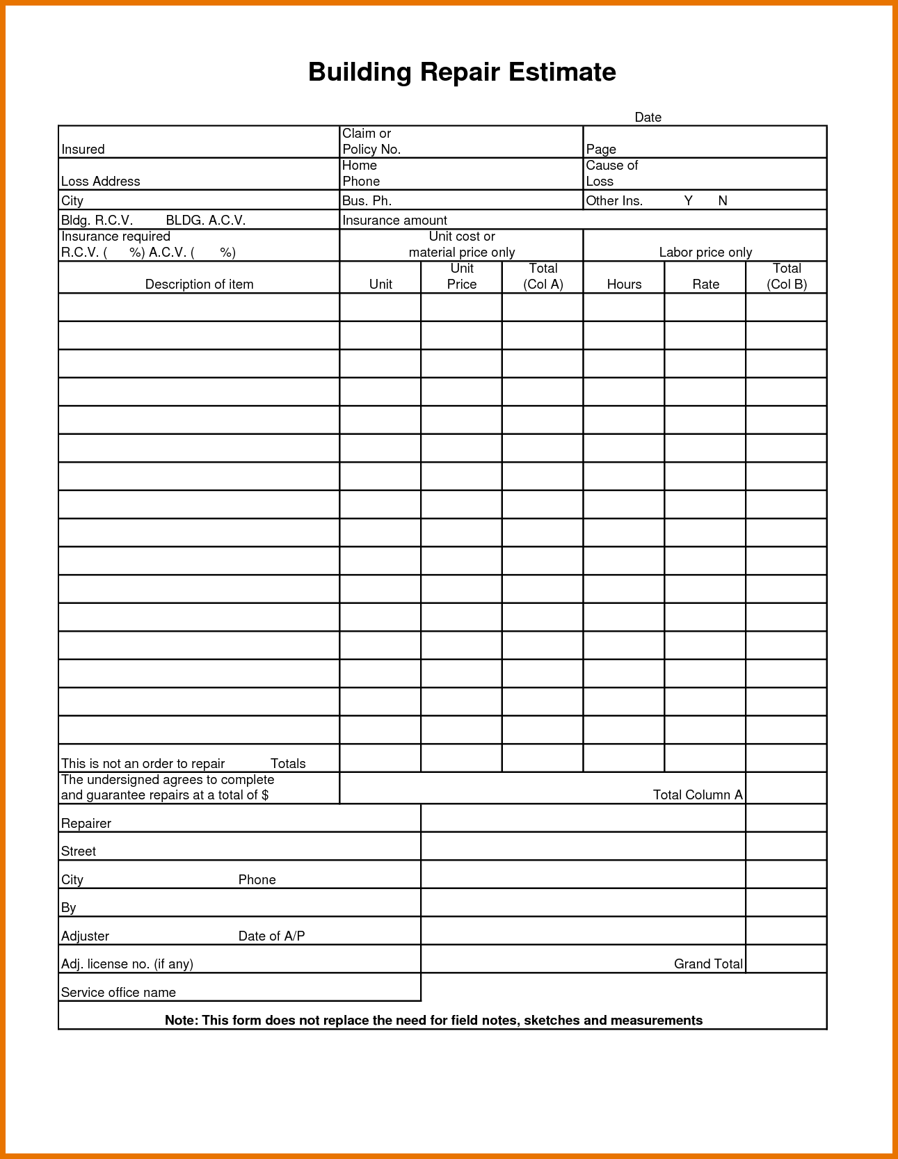 Siding Estimate Template and 7 Estimate forms Itinerary Template Sample