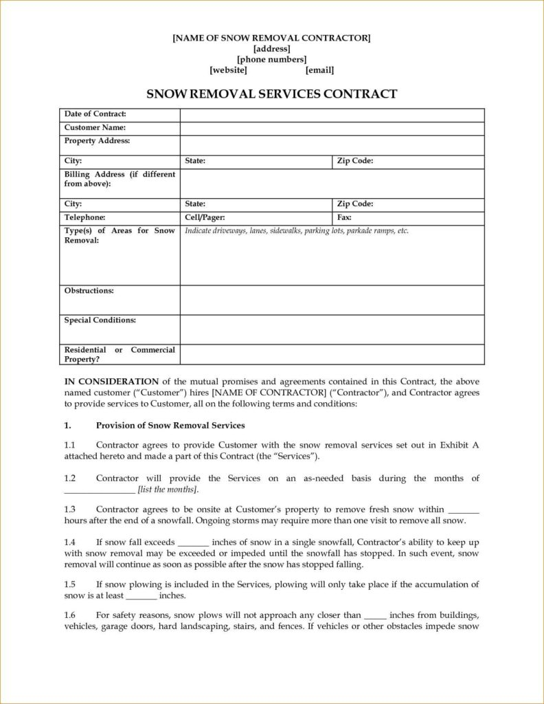 Snow Removal Invoice Template and Snow Removal Contract Template Bespoke Wellness