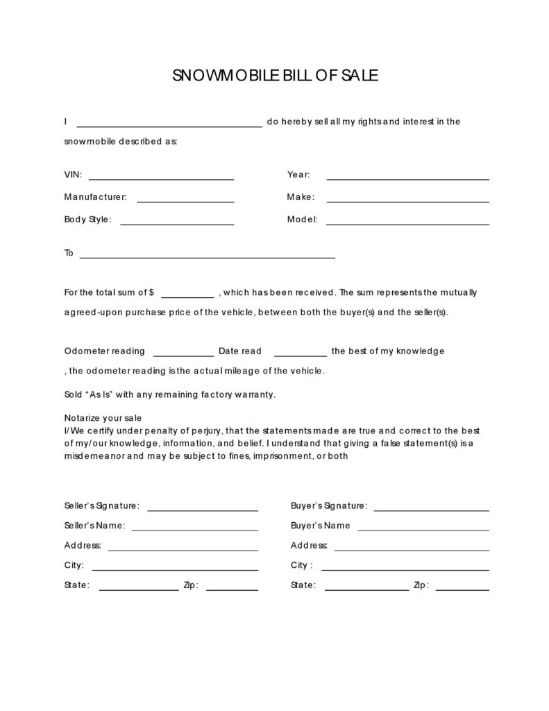 Snowmobile Bill Of Sale Template and Free Snowmobile Bill Of Sale form Pdf Docx