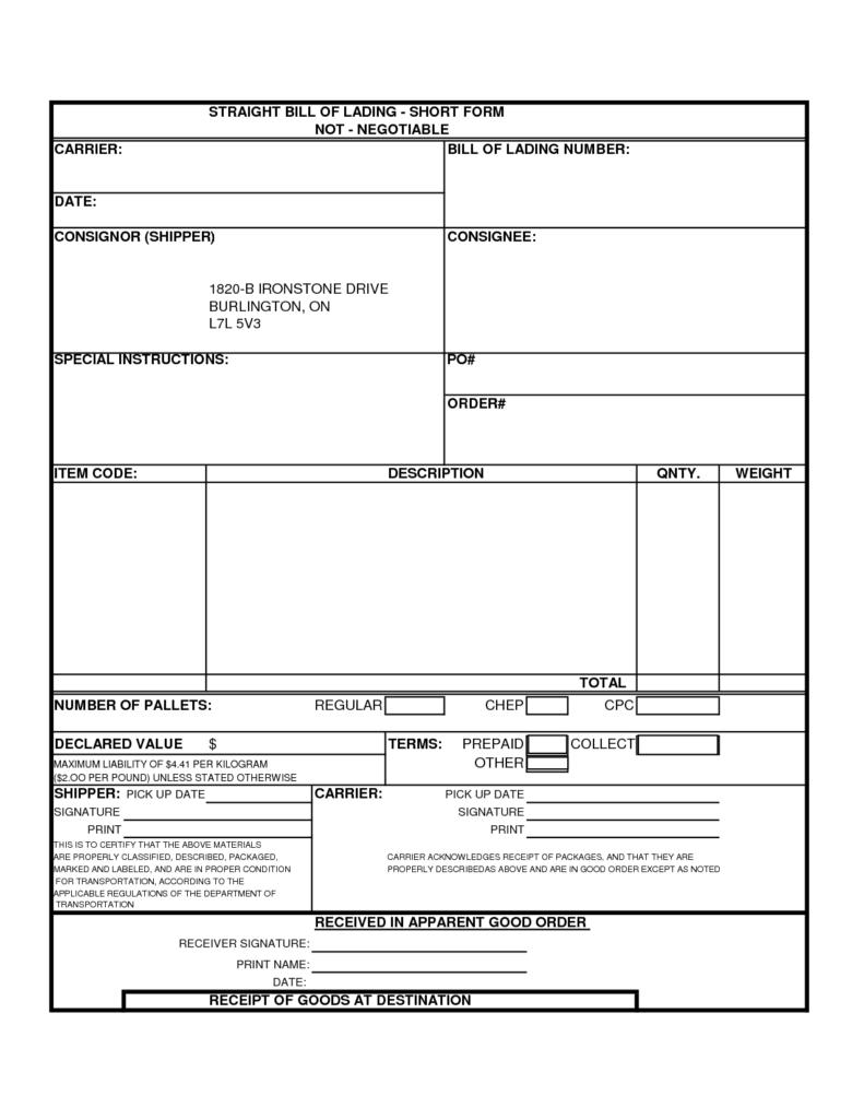 Straight Bill Of Lading Short form Template Free and 28 Straight Bill Of Lading Template Free 5 Free Bill Of Lading