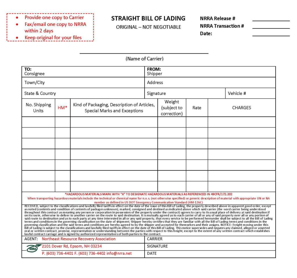 Straight Bill Of Lading Template Free and Bill Of Lading Template Excel Selimtd