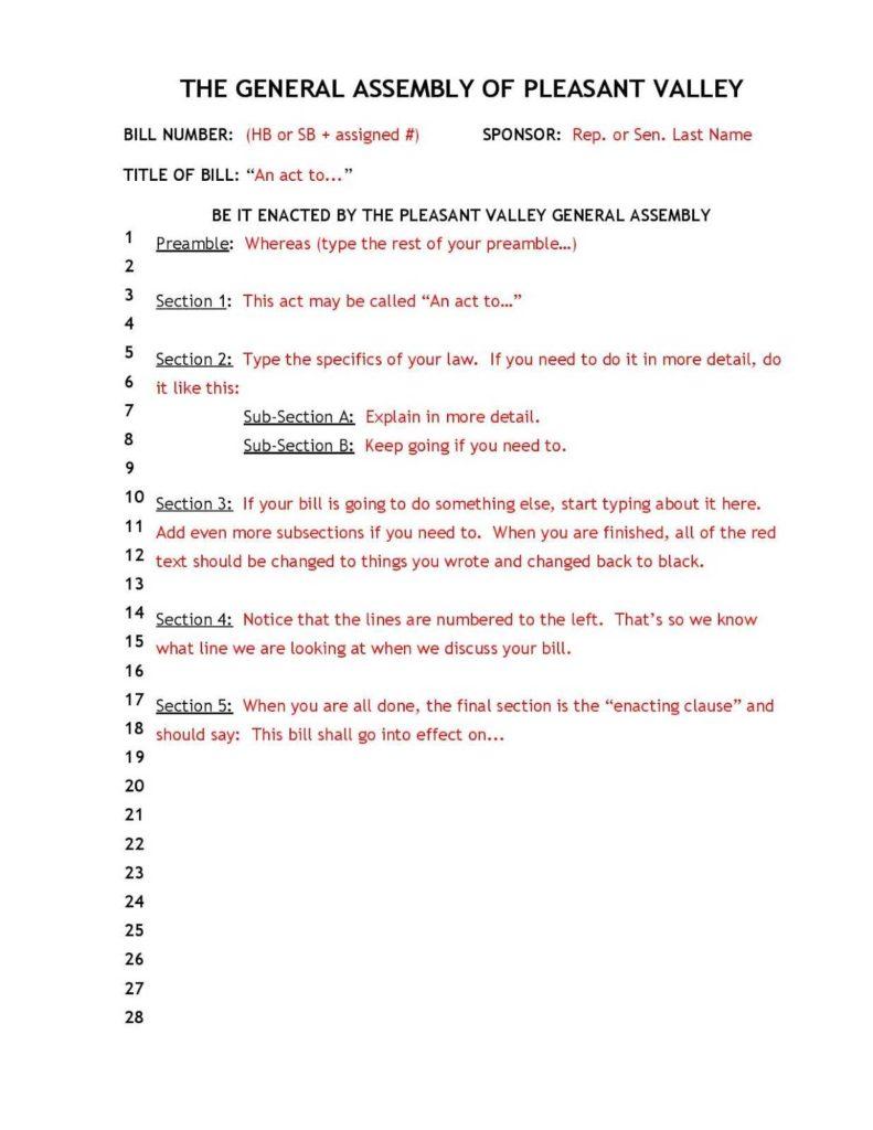 Student Congress Bill Template and Mr J S Journal