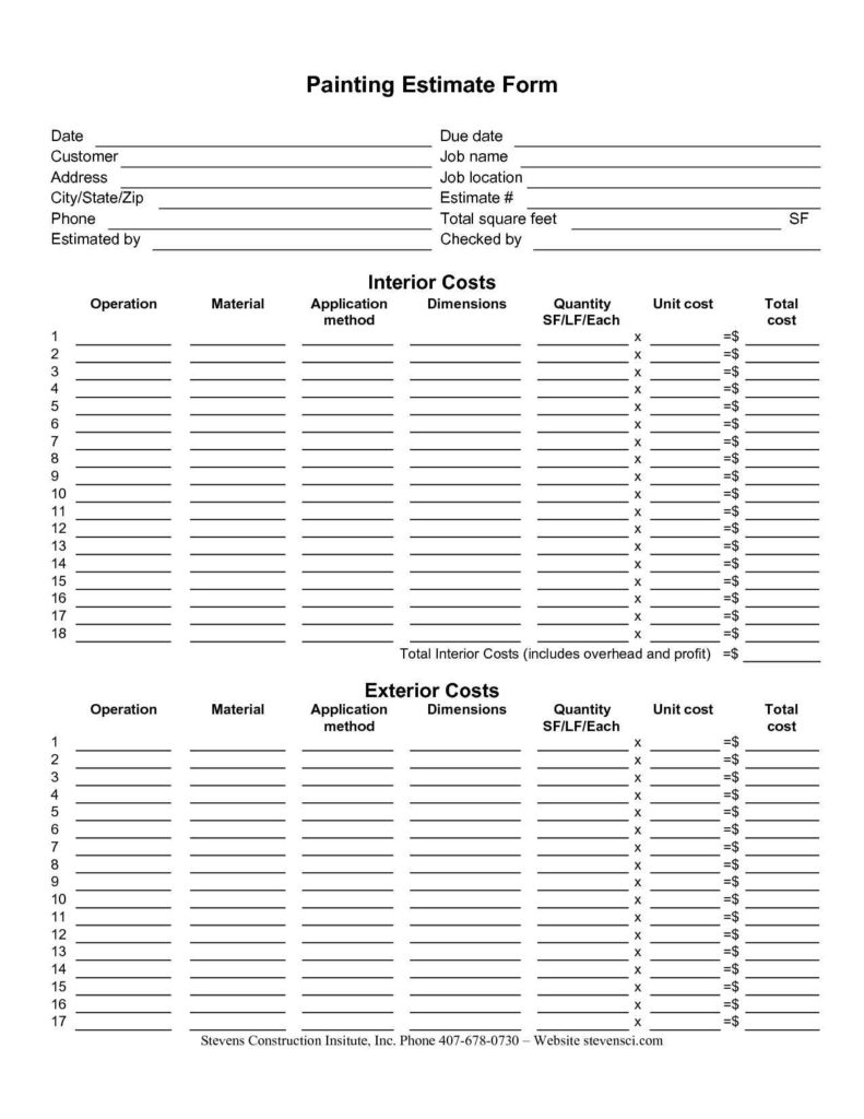 Subcontractor Invoice Template and Painting Estimating form Ntity Takeoff