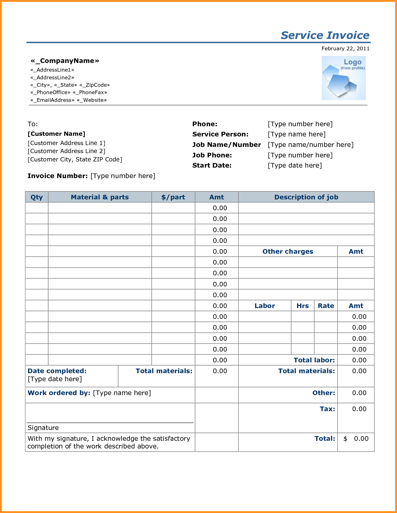 Taxi Bill Template and 4 Job Invoice Templates Cook Resume