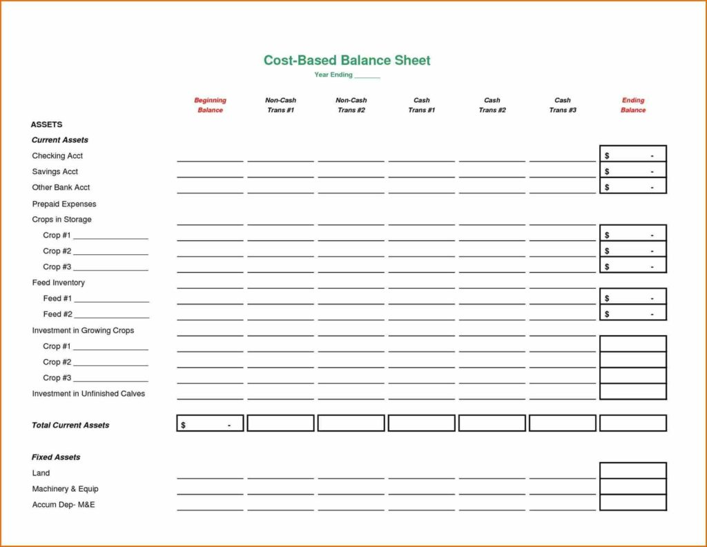 Template for A Balance Sheet and Blank Balance Sheet Template Templatez234