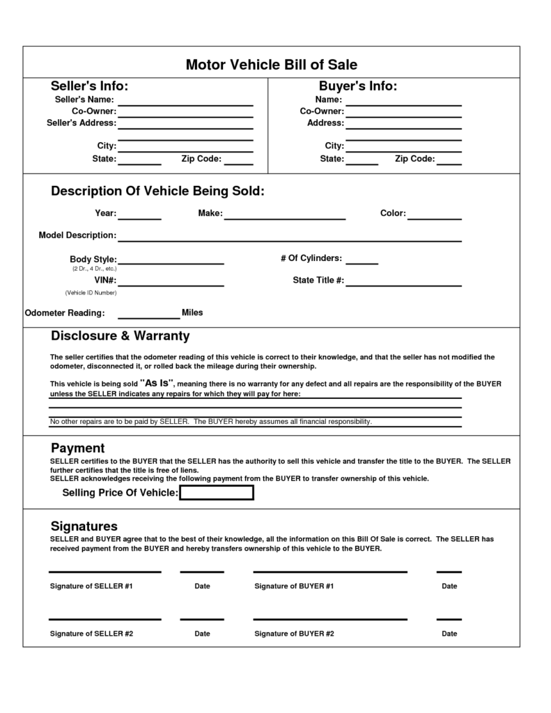Template for Car Bill Of Sale and Printable Car Bill Of Sale Pdf Bill Of Sale for Motor Vehicle