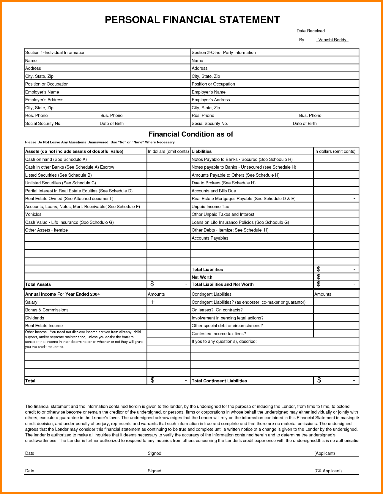 Template for Financial Report and 9 Able Personal Financial Statement Case Statement 2017