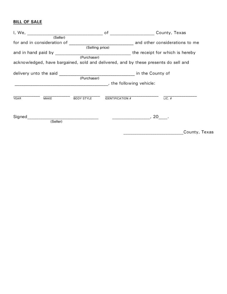 Texas Bill Of Sale Template and Free Texas Vehicle Bill Of Sale Pdf Docx
