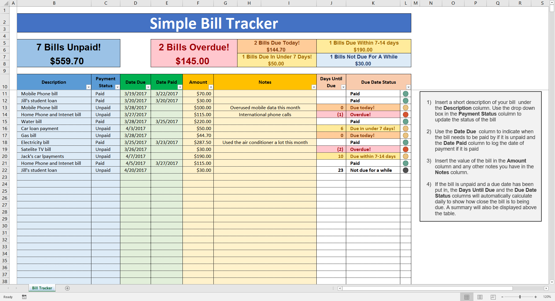 Time Tracking Spreadsheet and Simple Bill Tracker Savvy Spreadsheets