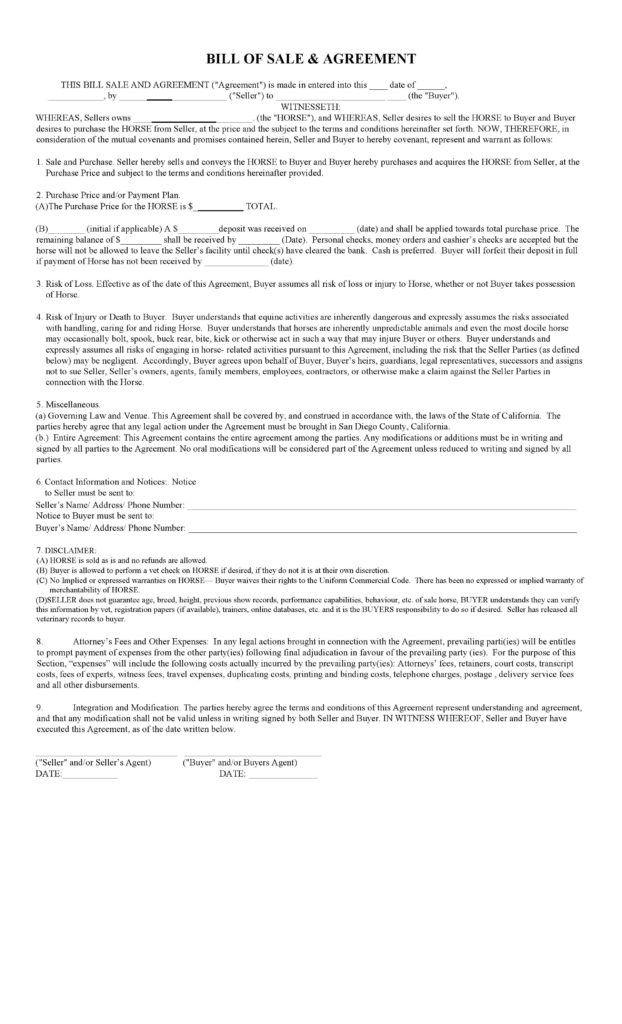 Tractor Bill Of Sale Template and Agreement Of Sale Template Virtren