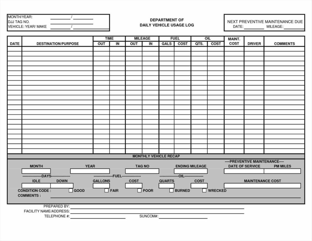 Truck Maintenance Spreadsheet and Maintenance Schedule Log Automotive Wolf Car Sheet Memo Templates