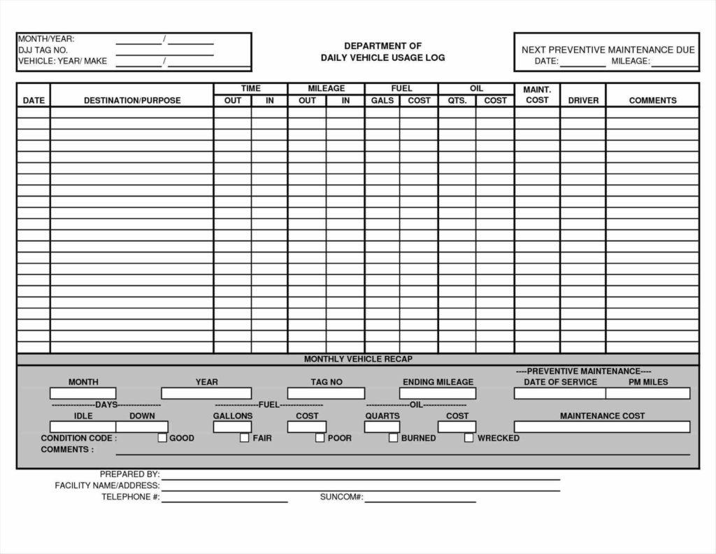 Truck Maintenance Spreadsheet and Maintenance Schedule Log Automotive Wolf Car Sheet Memo Templates