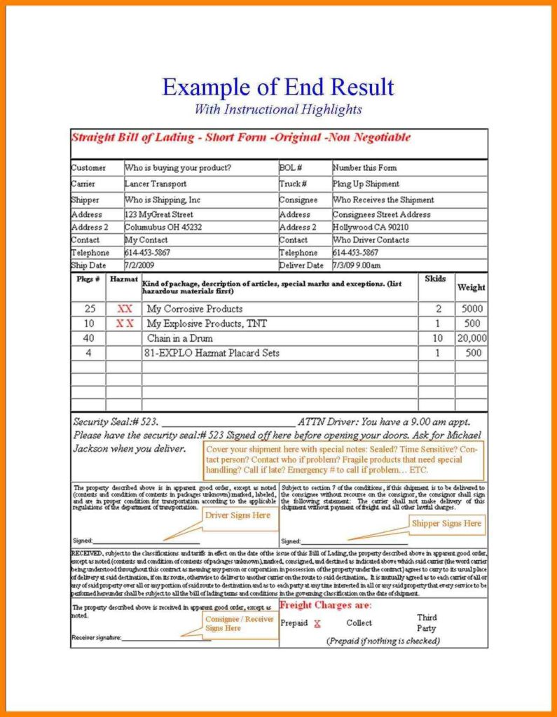 Uniform Straight Bill Of Lading Template and 100 Bill Of Lading form Template Bill Of Ladings Service