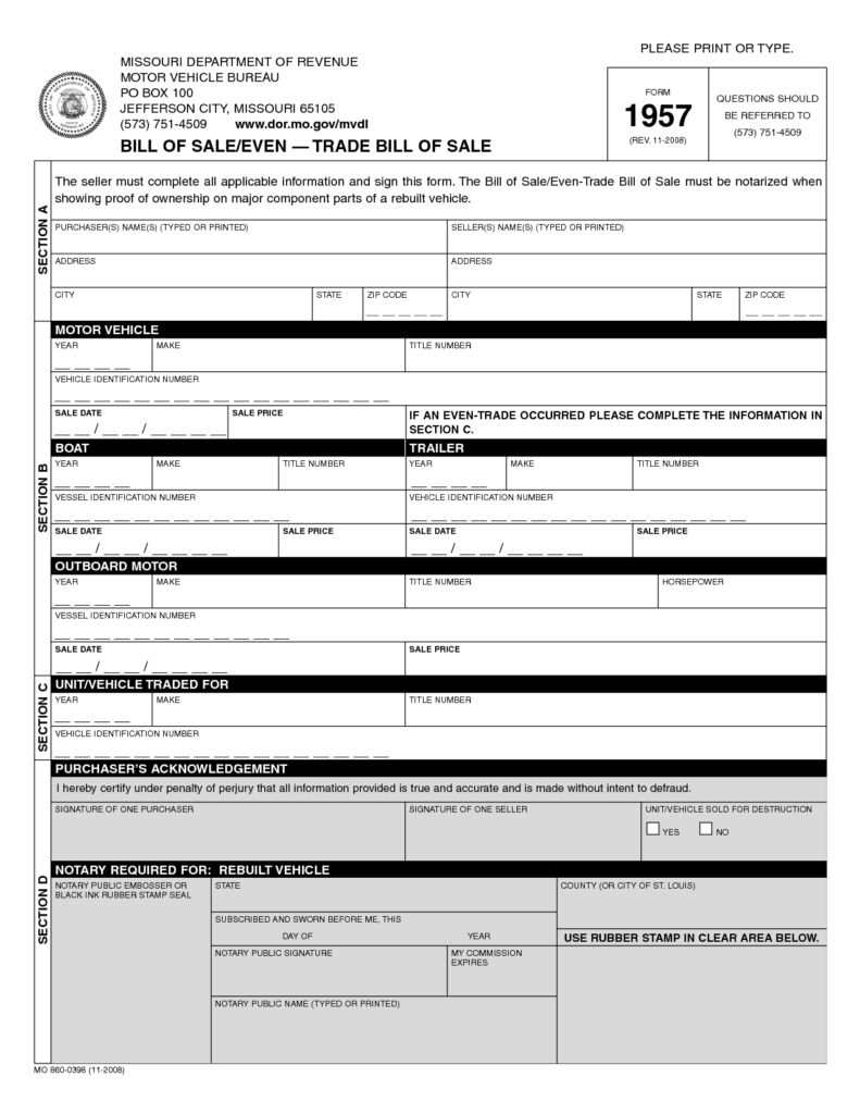 Used Car Bill Of Sale Template and Free Printable Rv Bill Of Sale form form Generic