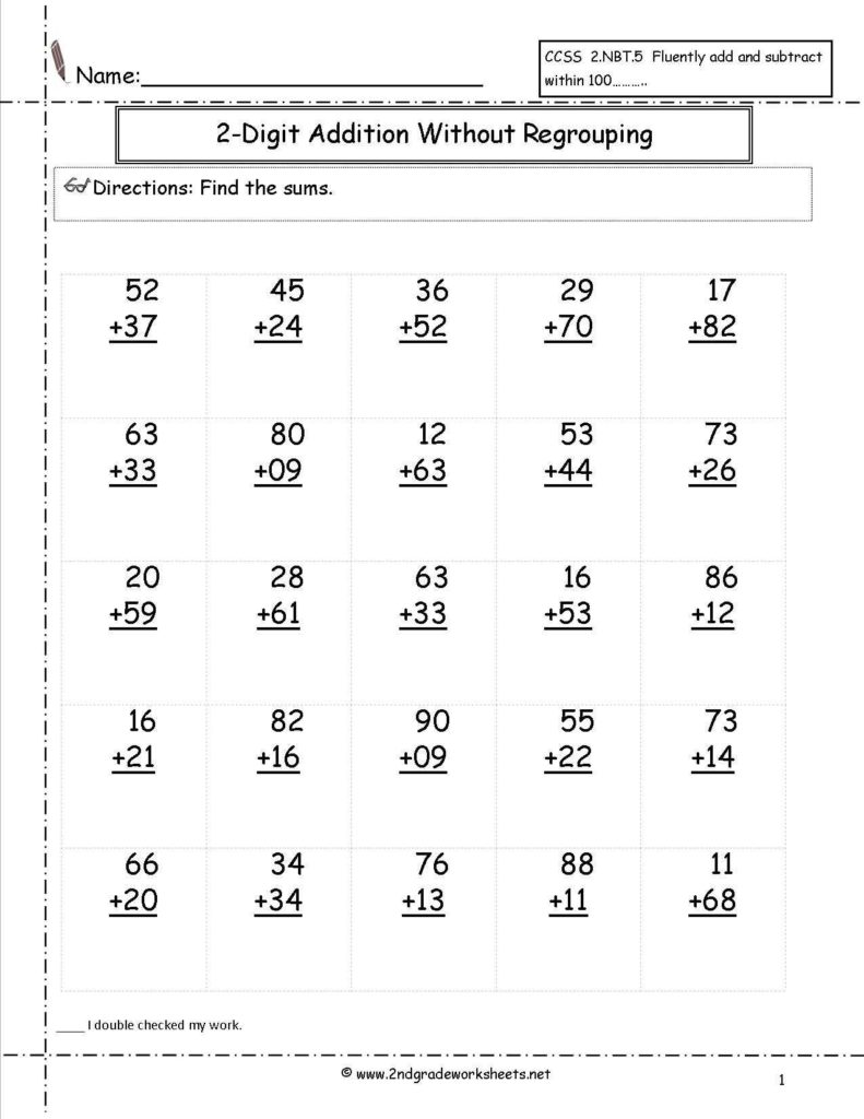 Value Of Coins Worksheet and Free Addition Printable Worksheets Two Digit Addition with No