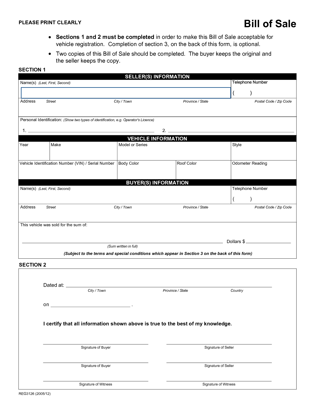 Vehicle Bill Of Sale Word Template and Printable Sample Rv Bill Of Sale form form Laywers Template