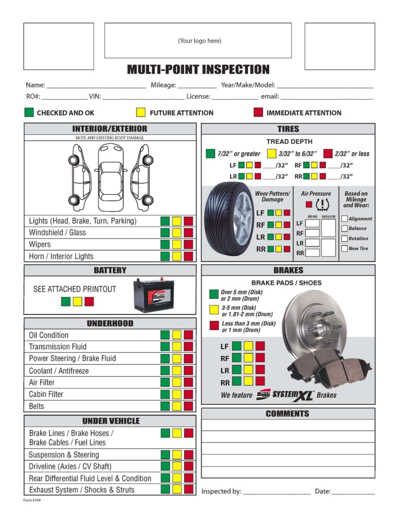 Vehicle Inspection Report Template Free and Free form Mighty Auto Parts