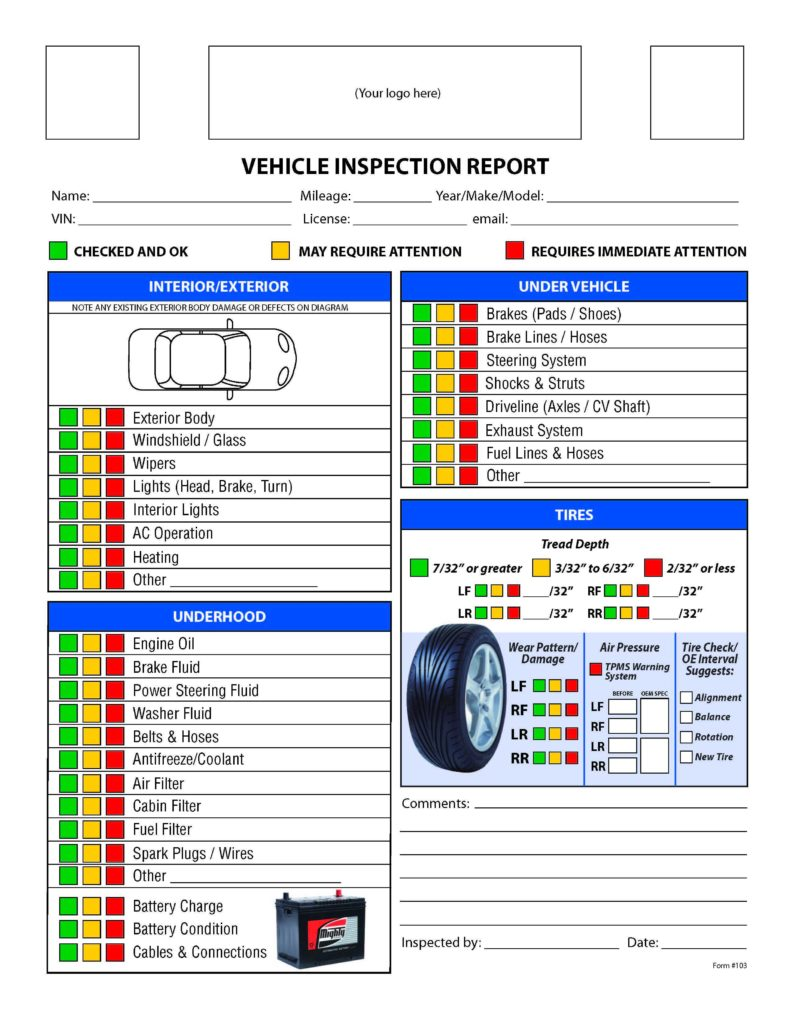 Vehicle Inspection Sheet Template and Free form Mighty Auto Parts