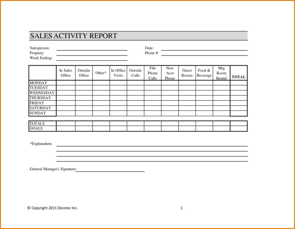 Weekly Sales Call Report Template and Doc Weekly Call Report Template Doc Sample