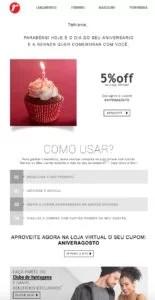 E-mail marketing de aniversário da Lojas Renner