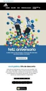 E-mail marketing de aniversário da Adidas