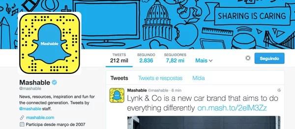 Mashable usando seu Snap Code no Twitter