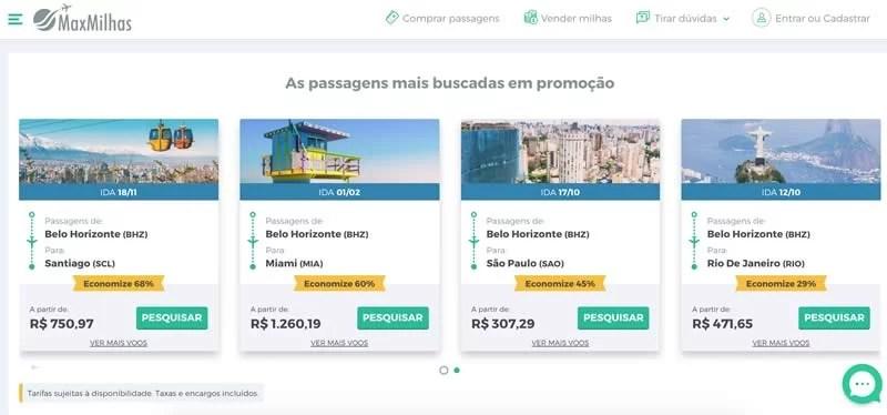 Tela da MaxMilhas com ofertas de passagens aéreas