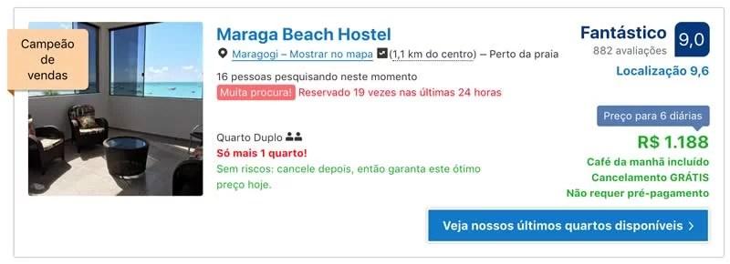 Booking.com mostrando que só resta 1 quarto de hotel disponível