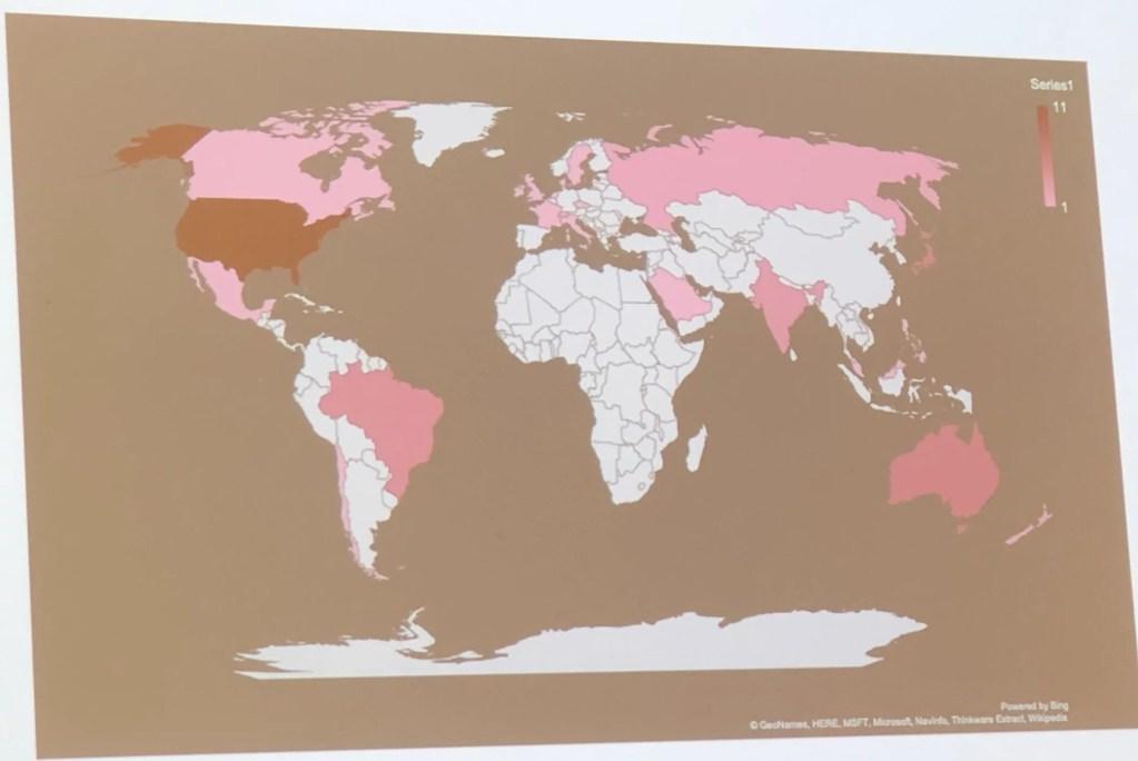 Slide mostrando os países dos alunos nessa turma do EPSO (Stanford)