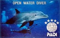 PADI scuba diver card