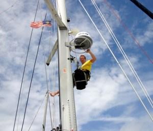 Jamie up mast