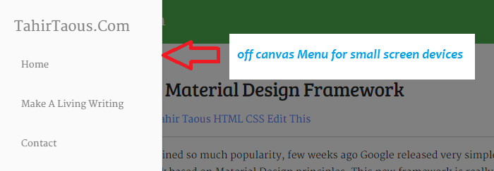 Material WordPress Theme off canvas menu