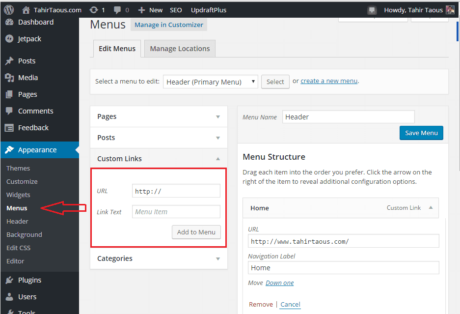 WordPress-menus-adding-custom-links-compressor