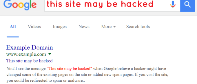 this site may be hacked - google message