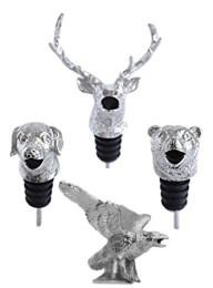 Silver Animal Wine Aerator Dog Elk Bear Eagle