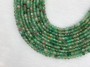 """15.5"""" Faceted Round Ruby Zoisite Bead Strand – Per String"""