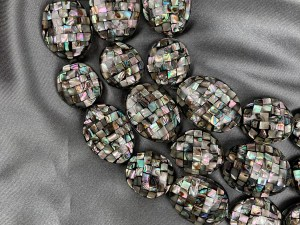 "16"" Freeform Mosaic Oval Abalone Bead Strand – Per String"