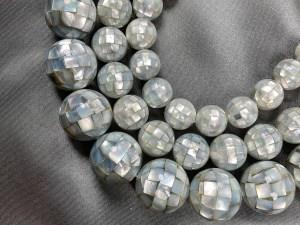 16'' Mosaic Round Grey MOP Bead Strand - Per String