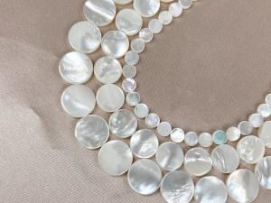 "16"" Single Round White MOP Bead Strand - Per String"