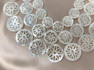 "16"" Single Round Filigree Floral White MOP Bead Strand - Per String"