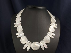 Ellipse and Freeform Triangle Beads White MOP Necklace