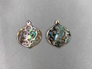 Filigree Abalone Shell Lantern Shape Loose Piece - Per Pair