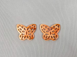 Filigree Butterfly Lion Paw Shell Loose Piece - Per Pair
