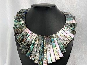Large Size Graduated Trapezoid Beads Abalone Shell Necklace